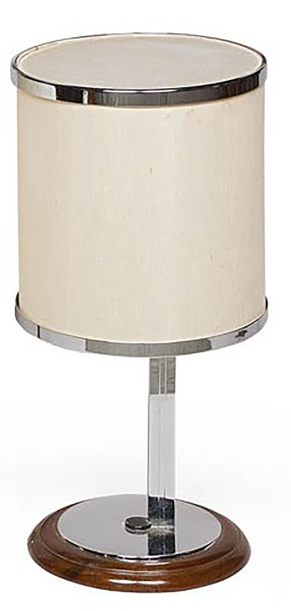 Lampe A Armature En Metal Chrome Abat Jour Tubulaire En Tissu Blanc