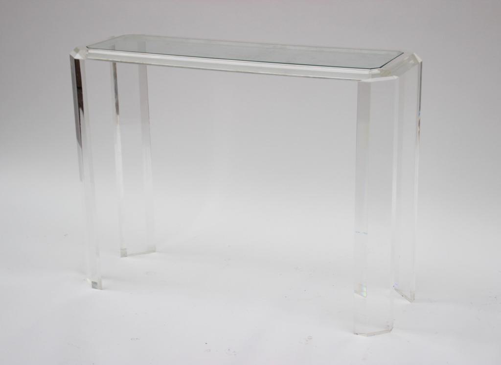 Console en plexigl à plateau de verre 75 x 100 x 36 cm - Carvajal on
