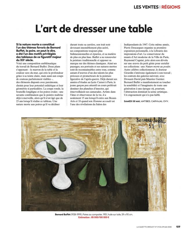 Gazette Drouot N°21 du 29 mai 2020, Buffet, Bernard, Poires au compotier, Vente aux enchères Carvajal