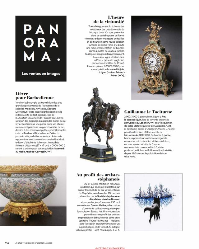 Gazette Drouot N°21 du 29 mai 2020 Edouard Lièvre, Jardinière pour Barbedienne, Vente aux enchères Carvajal