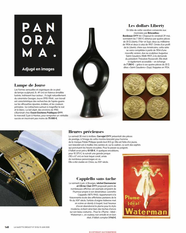 Gazette Drouot N°23 du 12 juin 2020, Patek Philippe, montre-bracelet pour homme, or jaune et saphirs, vente aux enchères Carvajal