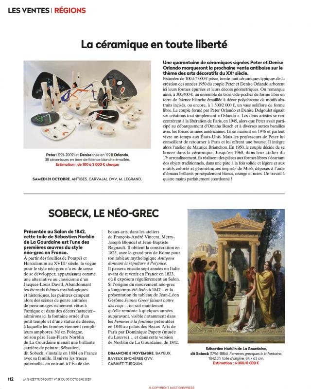 Gazette Drouot N°38 du 30 octobre 2020 Orlando, Peter et Denis, 38 céramiques en terre de faïence, vente aux enchères Carvajal