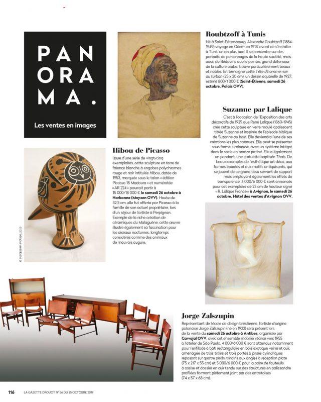 Gazette Drouot numéro 36 du 25 octobre 2019, Jorge Zalszupin, vente aux enchères Carvajal
