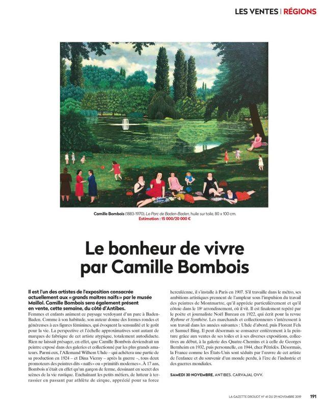 Gazette Drouot numéro 41 du 29 novembre 2019, Camille Bombois, le parc de Baden-Baden, vente aux enchères Carvajal
