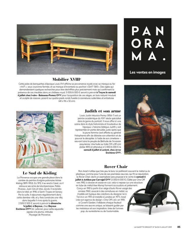 Ron Arad, Rover Chair, vente aux enchères Carvajal, Gazette Drouot numéro 26 du 5 juillet 2019